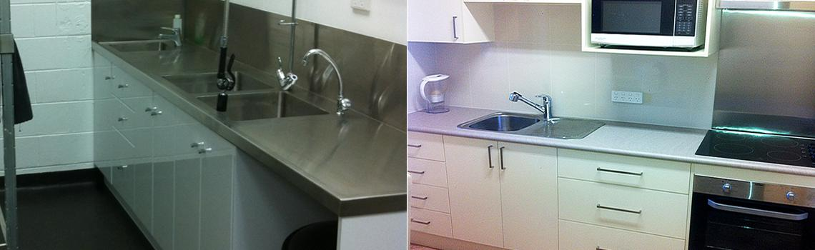 (L) Part of commercial kitchen installation project. (R) Residential kitchen installation including fittings.