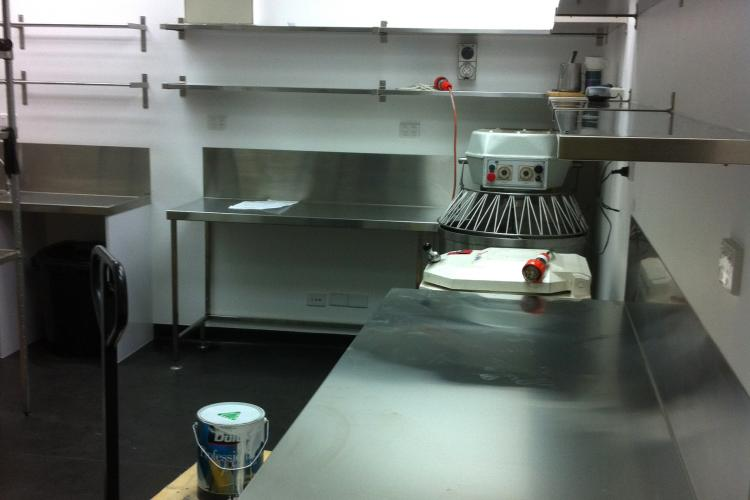 Commercial kitchen shelving and benches installation in Adelaide, SA.
