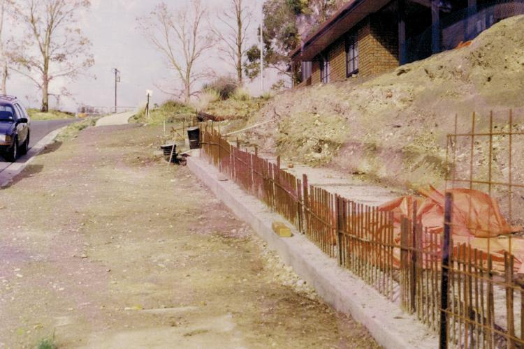 Site before retaining wall construction.